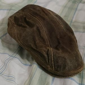 Vintage brown patina leather news boy hat